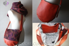 Borsa In Pelle e Wrap Scrap WovenWings Stockinette Autumn Sunset