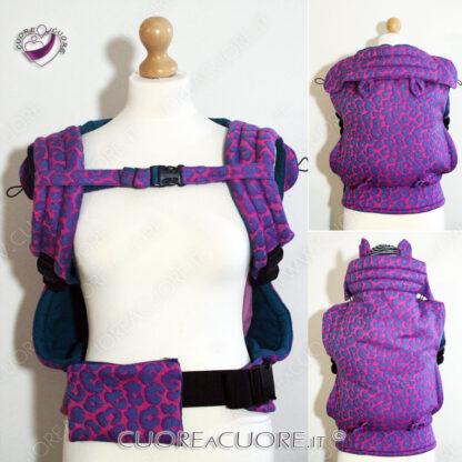 Yaro Pussycat Duo Purple Pink Turkis Tencel Custom Soft Structured BabyCarrier FullBuckle WrapConversion Marsupio Personalizzato Preforme