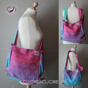 Borsa Babywearing Big Bag senza patella. Puo essere indossata a Tracolla, a Spalla, a Zainetto o a Vita WrapConversion Oscha Starry Night Cotton Candy