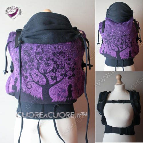 Marsupio WrapConversion Natibaby Bubbles Purple, reggitesta classico regolabile tinta unita