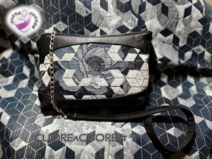Borsa In Pelle Scrap Leather Bag WrapConversionWovenWings Floral Geo Con Catena
