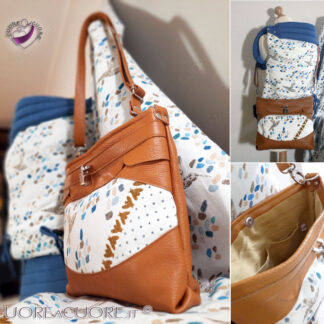LeoraA quarelle Les Pieds Sul La Sable Chaud Borsa In Pelle Scrap Leather Bag Sac En Cuir